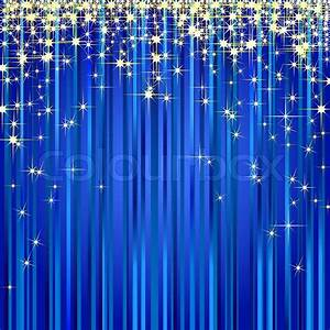 Christmas illustration of a blue curtain with gold stars ...