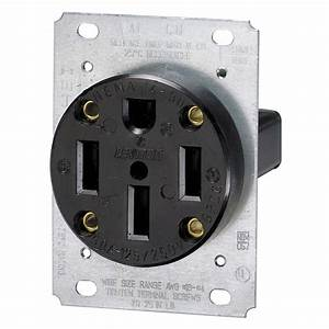 Leviton 50 Amp Flush Mount Shallow Single Outlet  Black