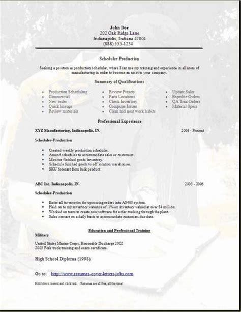 scheduler resume occupational exles sles free edit