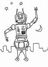 Robot Space Coloring Robots Pages sketch template