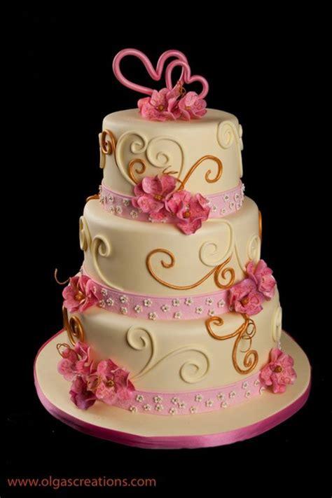 pink  yellow wedding cake cakecentralcom