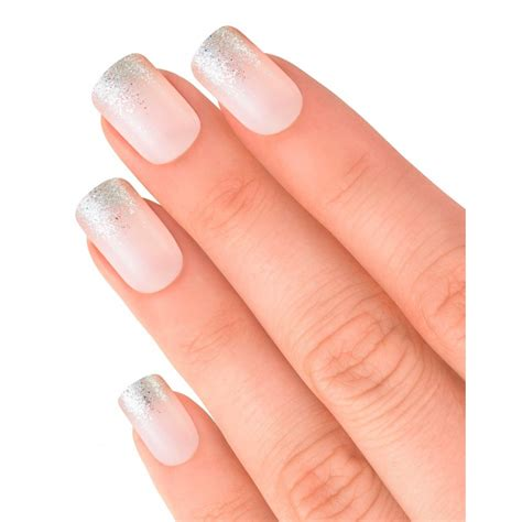 Elegant Touch False Nails Statement French  Glitter Up