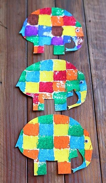 sponge painted elmer the elephant buggy and buddy 121 | e12