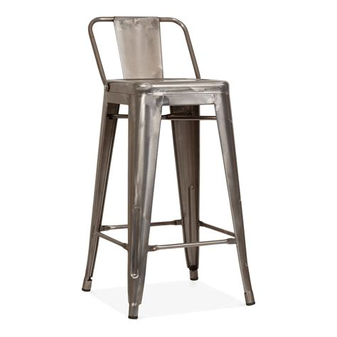 dossier chaise tolix style metal bar stool with low back rest gunmetal