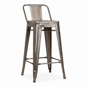 Chaise Metal Tolix : tolix style metal bar stool with low back rest gunmetal 65cm cult uk ~ Teatrodelosmanantiales.com Idées de Décoration