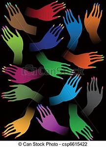 Vector Illustration Of Creative Colorful Female Hands On