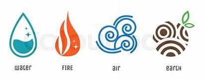 Earth Elements Fire Air Water Vector Symbols