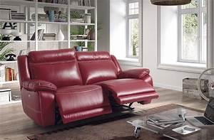 Canap relax lectrique rouge en cuir 2 places for Canapé cuir rouge relax
