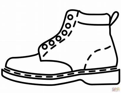 Coloring Shoe Shoes Pages Boot Boots Vans
