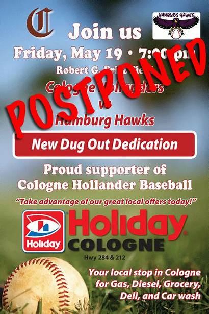 Cologne Postponed Hollanders Sponsor Mid Baseball Fritz