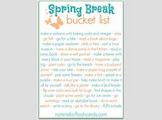 Spring Break Bucket List FREE PRINTABLE No Time For