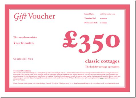 holiday cottage gift vouchers classic cottages