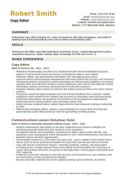 copy editor resume sles qwikresume