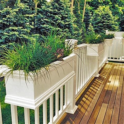 deck rail planters 24 quot charleston style deck railing planter for balcony or