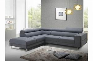 Changer Tissu Canapé : canap d 39 angle gauche gris en tissu bartolo canap d 39 angle pas cher ~ Nature-et-papiers.com Idées de Décoration