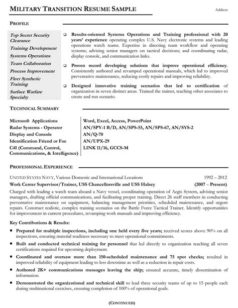 Military Resume Samples & Examples Military Resume Writers