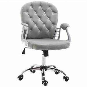Vinsetto, Vanity, Middle, Back, Office, Chair, Tufted, Backrest, Swivel, Rolling, Wheels, Height, Adjustable