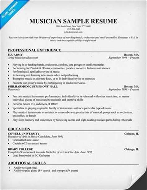 Cd Resume by Musician Resume Objective