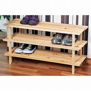 Range Chaussures Bois : etag re pour chaussures 3 tages avec latte en pin pas cher z dio ~ Dode.kayakingforconservation.com Idées de Décoration
