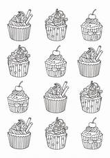 Coloring Cupcake Pages Cupcakes Adult Adults Cakes Cup Easy Cake Celine Zentangle Many Eat Justcolor Yum Printable Books Colors Sweet sketch template