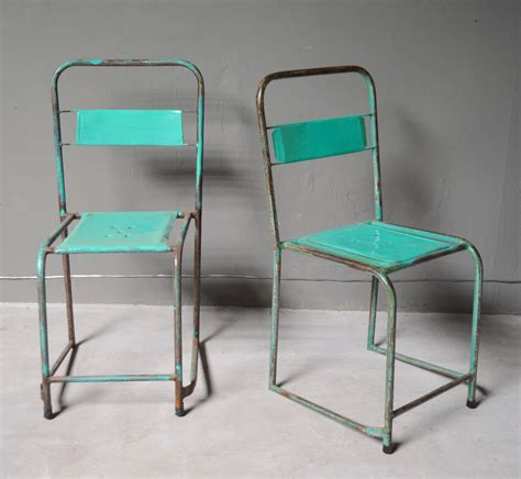 set of four turquoise school chairs for sale at 1stdibs