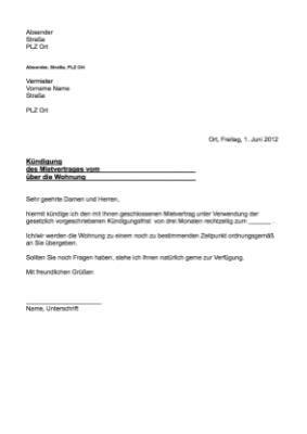 vorlage kündigung mietwohnung durch mieter musterbrief k 252 ndigung mietvertrag vorlage muster hier herunterladen