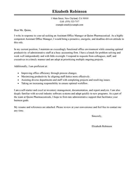 administrative cover letter examples livecareer