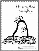 Grumpy Coloring Bird sketch template