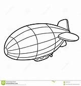 Coloring Airship Cartoon Children Illustration Vector sketch template
