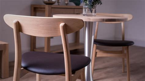 washed oak dining table and dining chairs