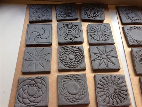 printed turtleart stamps  clay tiles