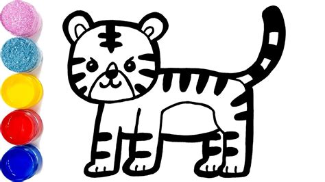 glitter baby tiger coloring  drawing learn colors