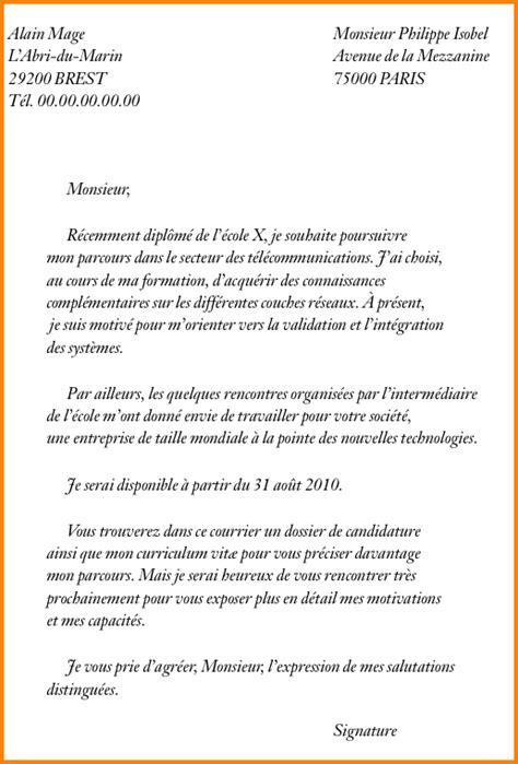 exemple lettre de motivation cuisine 8 exemple de lettre de motivation pour une école format lettre