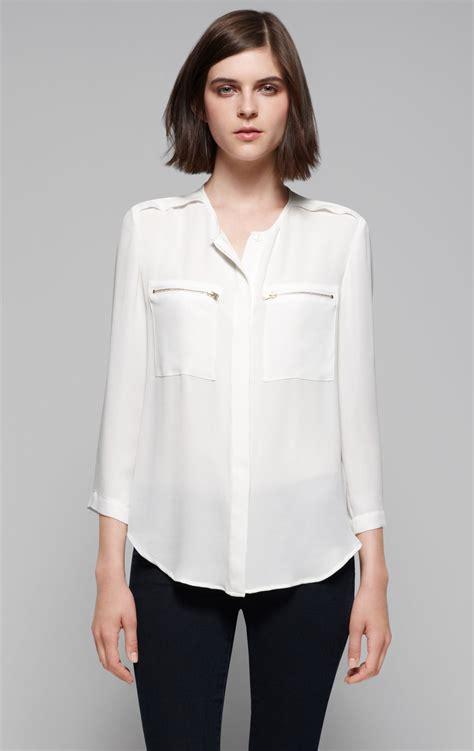 silk white blouse lyst theory brundia silk blouse in white