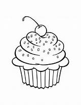 Cupcake Cartoon Cliparts Outline Printable Cupcakes Sprinkles Coloring Pages Cups Blank Birthday sketch template