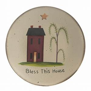 "Primitive Wood ""Bless This House"" Plate - Decorative"