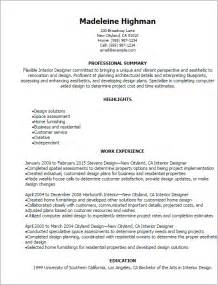 design resume summary professional interior designer resume templates to