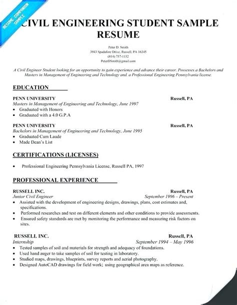 12087 civil engineering student resume format freshers
