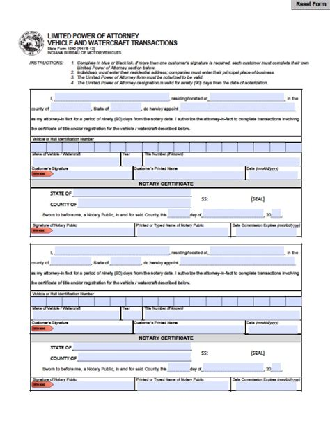 indiana vehicle power  attorney form power  attorney