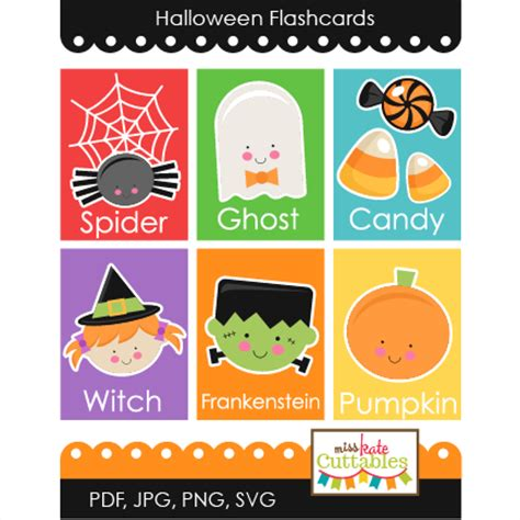 Halloween Flashcards Printables Svg Scrapbook Cut File Cute Clipart Files For Silhouette Cricut