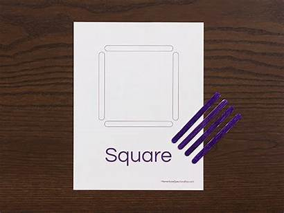 Shapes Activity Square Teaching Preschoolers Toddlers Popsicle