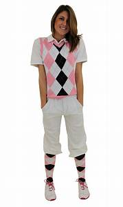 Womenu0026#39;s Golf Outfit - White Black Pink Light Blue Overstitch