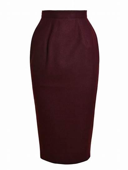 Skirt Pencil Burgundy Flannel Skirts