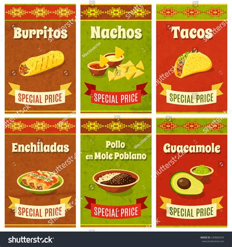 promo cuisine food promo poster mini set stock vector 249860554