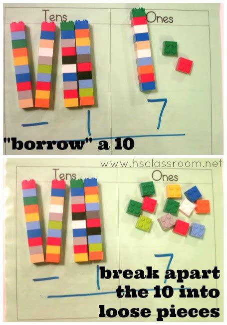 digit addition and subtraction with lego bricks