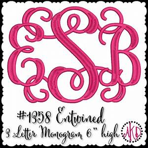 entwined or vine 3 letter embroidery monograms akdesigns With 3 letter monogram