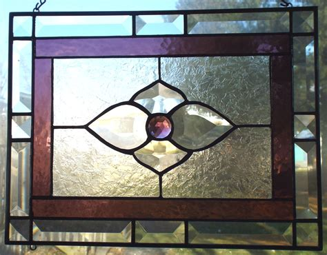 stained glass decor stained glass panel window decor purple gem flower bevel