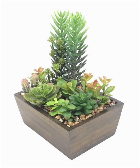 สวนจิ๋ว สวนถาด Succulent plant ไม้อวบน้ำปลอม แคคตัสปลอม จัดในกระถางไม้ทรงสี่เหลี่ยมสำหรับประดับ ...