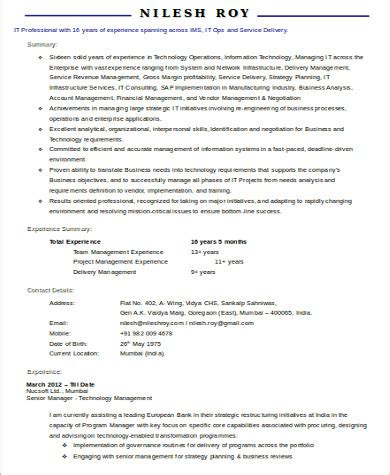 Experienced Project Manager Resume by Sle It Project Manager Resume 9 Exles In Word Pdf