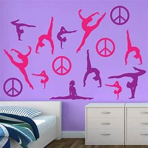 gymnastic wall decals gymnastics wall art etsy with With gymnastics wall decals
